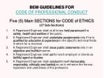 bem guidelines for code of professional conduct