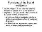 functions of the board on ethics
