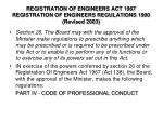 registration of engineers act 1967 registration of engineers regulations 1990 revised 2003