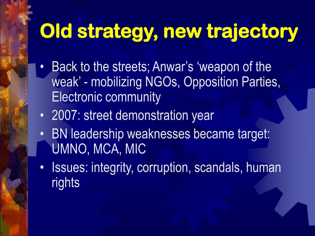 Old strategy, new trajectory
