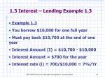 1 3 interest lending example 1 3