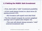 1 3 setting the marr safe investment