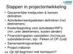 stappen in projectontwikkeling