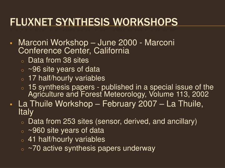Fluxnet synthesis workshops