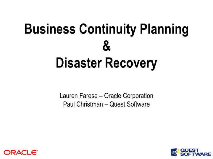 business continuity planning disaster recovery n.