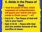 6 abide in the peace of god
