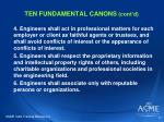 ten fundamental canons cont d