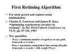 first retiming algorithm