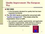 quality improvement the european way
