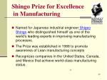 shingo prize for excellence in manufacturing