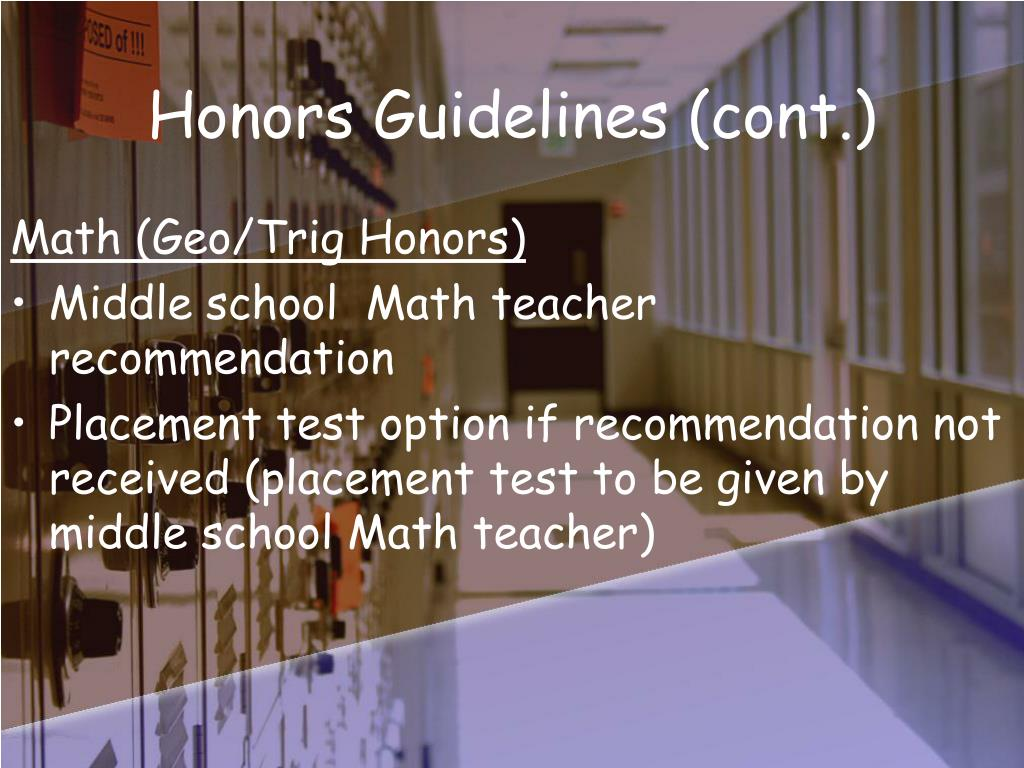 Honors Guidelines (cont.)