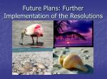 future plans further implementation of the resolutions