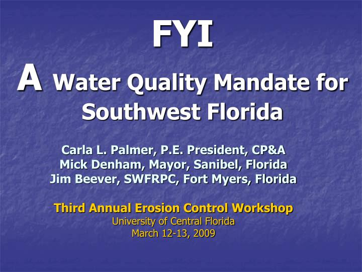 fyi a water quality mandate for southwest florida n.
