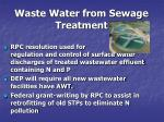 waste water from sewage treatment