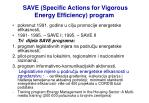 save specific actions for vigorous energy efficiency program
