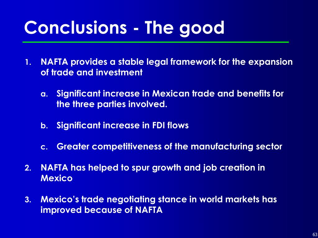 Conclusions - The good