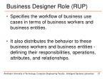business designer role rup