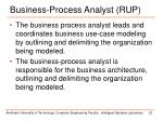 business process analyst rup