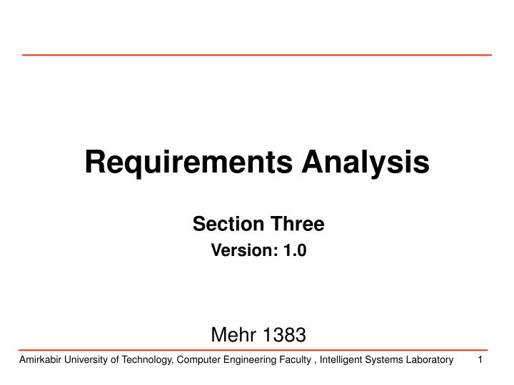 requirements analysis n.