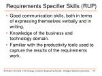 requirements specifier skills rup1