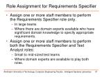 role assignment for requirements specifier