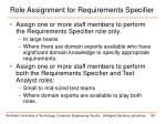 role assignment for requirements specifier1