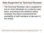 role assignment for technical reviewer