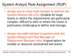 system analyst role assignment rup
