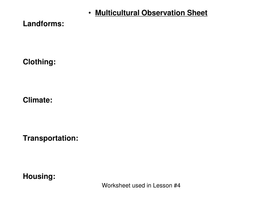 Worksheet used in Lesson #4
