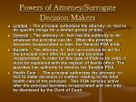 powers of attorney surrogate decision makers