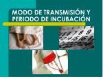 modo de transmisi n y periodo de incubaci n