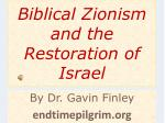 biblical zionism and the restoration of israel