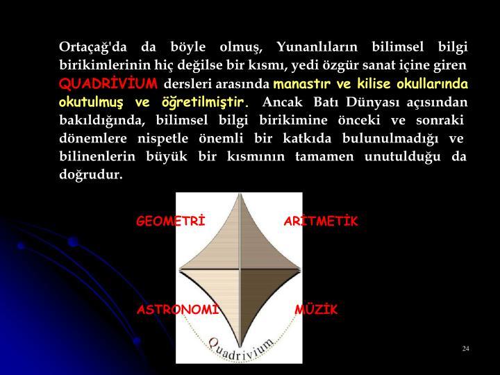 Ortaçağ'da    da    böyle    olmuş,    Yunanlıların    bilimsel    bilgi