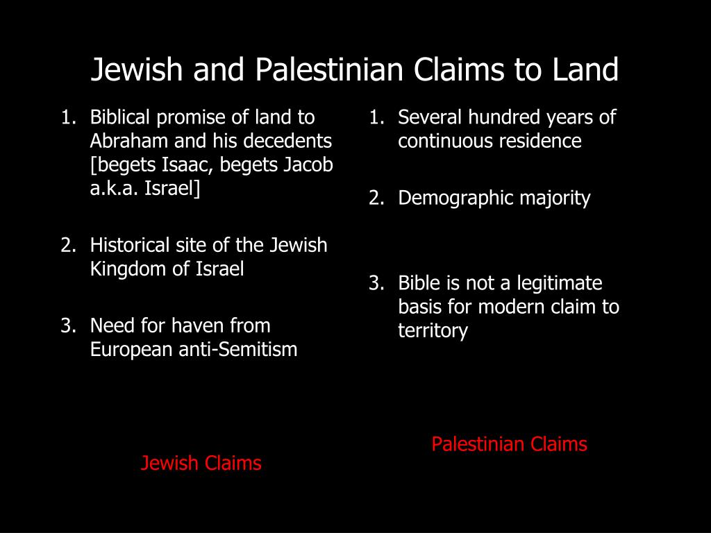Biblical promise of land to Abraham and his decedents [begets Isaac, begets Jacob a.k.a. Israel]