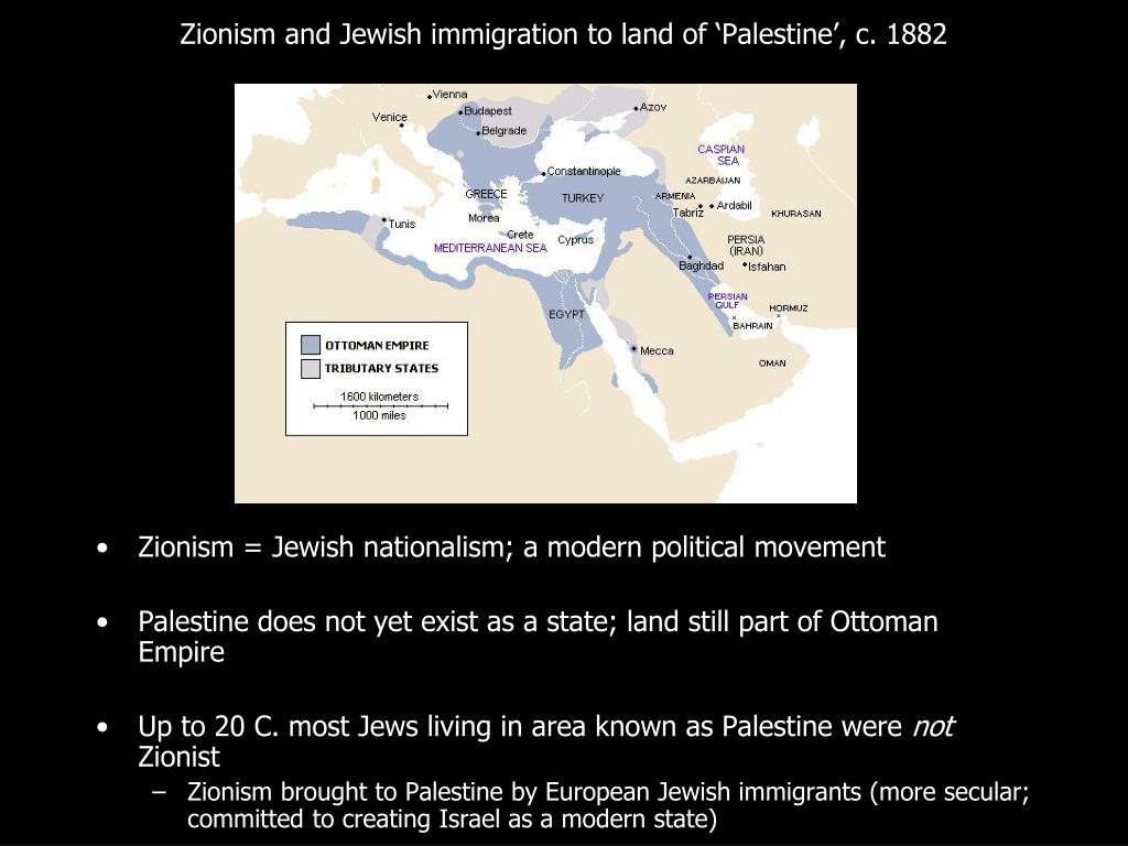 Zionism and Jewish immigration to land of 'Palestine', c. 1882