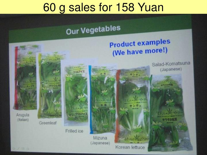 60 g sales for 158 Yuan