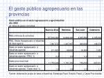 el gasto p blico agropecuario en las provincias