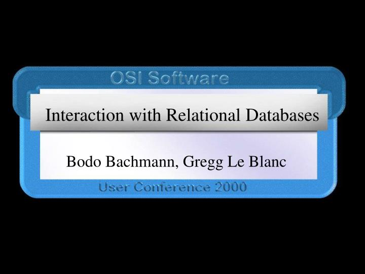 interaction with relational databases n.
