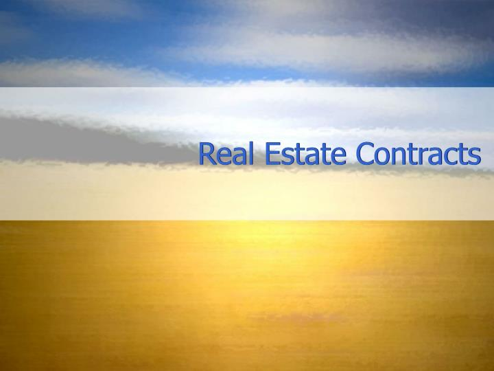 real estate contracts n.