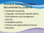 domains and technologies documented by patterns1