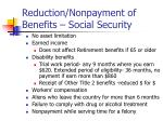 reduction nonpayment of benefits social security