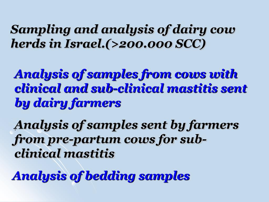 Sampling and analysis of dairy cow herds in Israel.(>200.000 SCC)