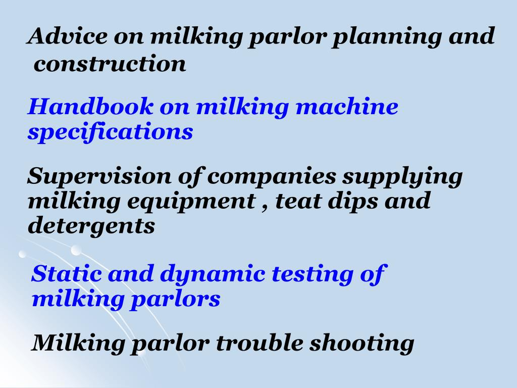 Advice on milking parlor planning and