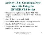 activity 13 6 creating a new web site using the iisweb vbs script