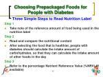 choosing prepackaged foods for people with diabetes5