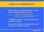 critical considerations