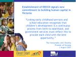 establishment of deecd signals new commitment to building human capital in victoria