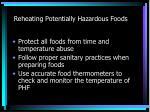 reheating potentially hazardous foods
