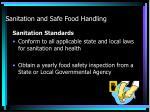 sanitation and safe food handling