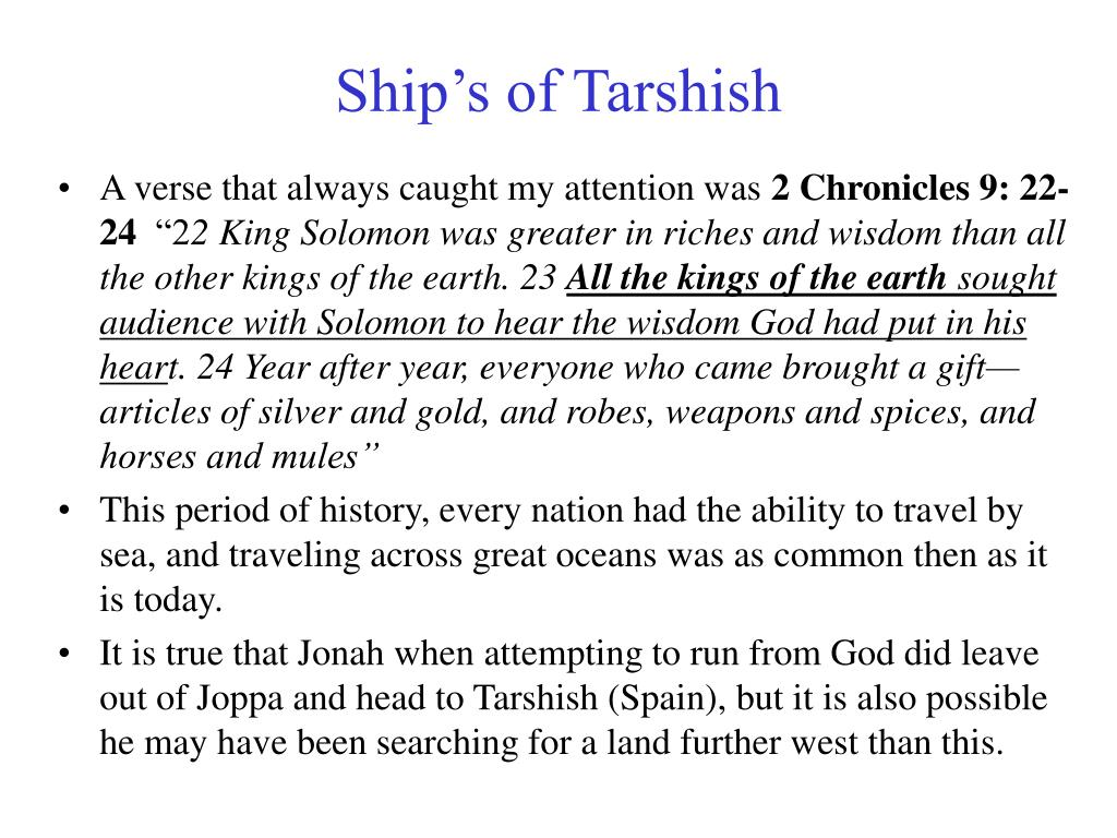 Ship's of Tarshish